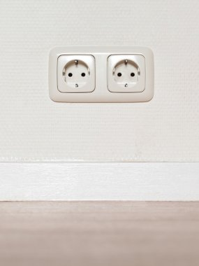 Electrical jack white plastic socket