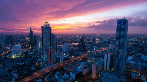 Timelapse City Skyline at sunset.