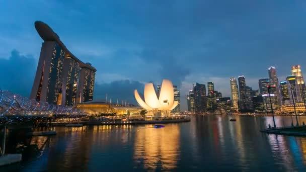 Timelapse - Singapore Marina Bay Night City Skyline