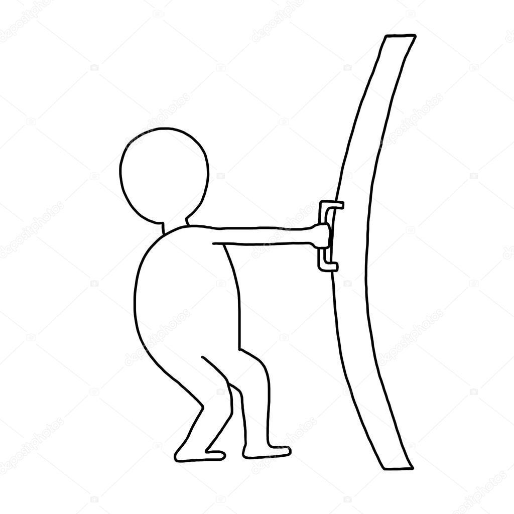 Imágenes Puerta Cerrada Para Colorear Hombre Abre Una