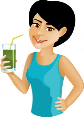 Black-haired girl with green vegetable juice