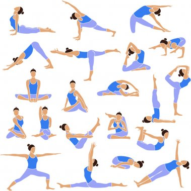 Yoga set icons.