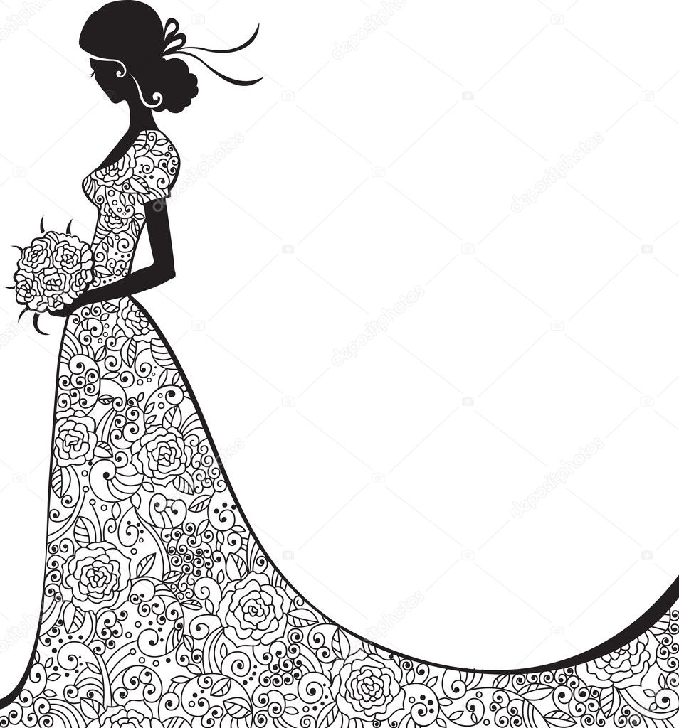 Elegant silhouette of the bride