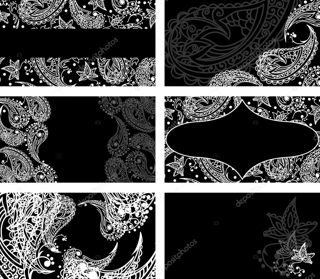Business cards with black and white paisley pattern — Stock Vector ...