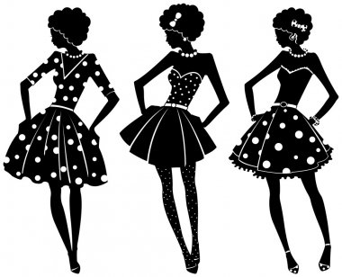 Three silhouettes of women