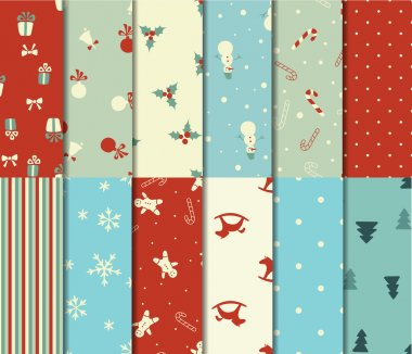 Set of 12 Christmas seamless patterns in retro style clip art vector