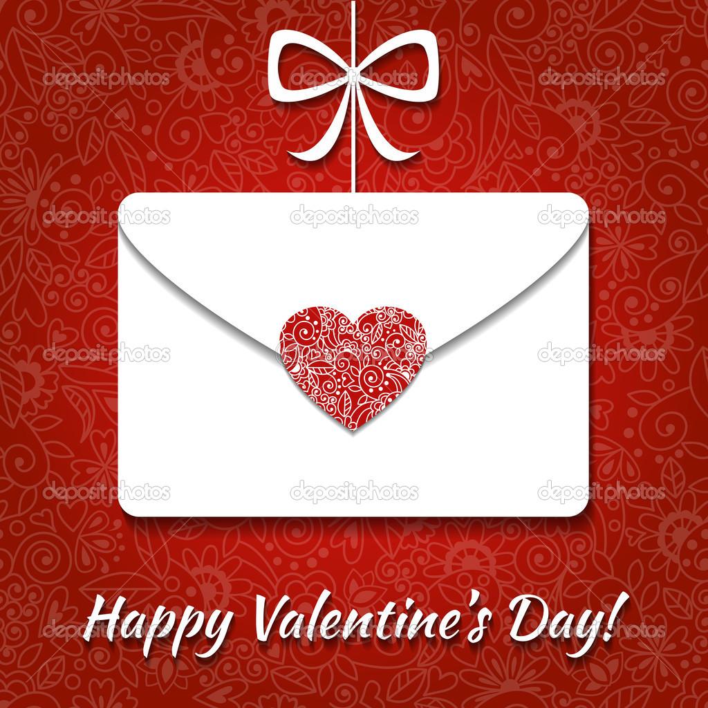 Valentinskarte mit Umschlag und elegante Herz — Stockvektor ...