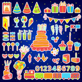 Photo Set of vector birthday elements