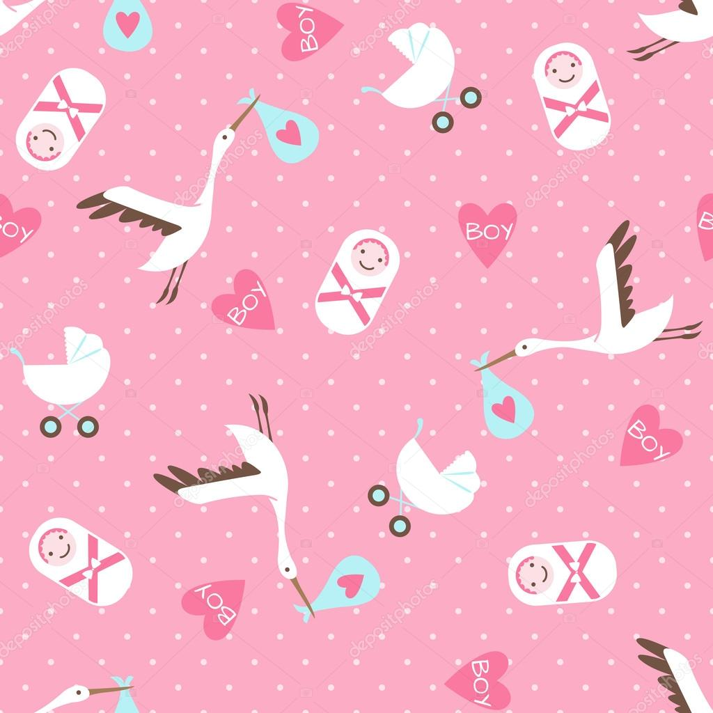 Background image 7945 - Seamless Baby Shower Pattern On Pink Background Stock Vector 40337945