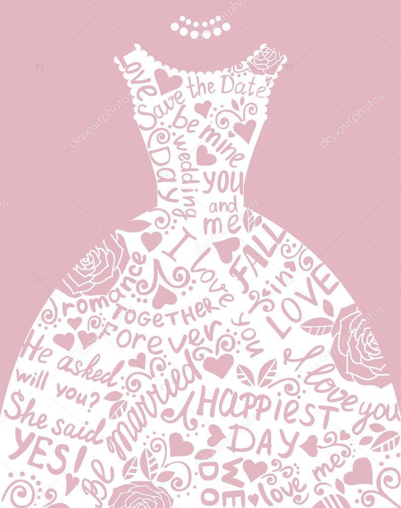 invitación de boda con hermosa elegante vestido de novia — Vector de ...