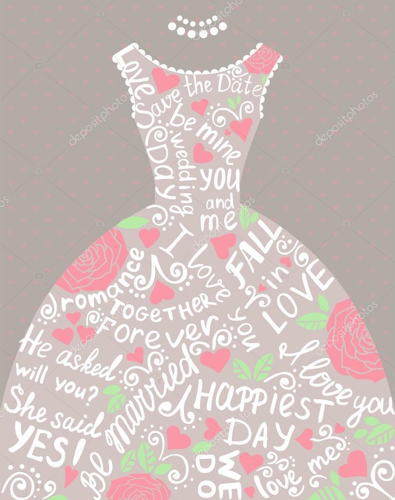 Wedding invitation with beautiful elegant wedding dress. — Stock ...