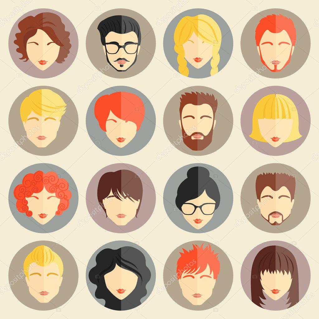 Vector set of stylish avatars of girls and guys in modern flat design