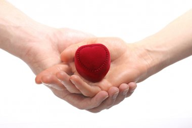 Hands hoding red velvet heart-shaped box, isolated on white stock vector