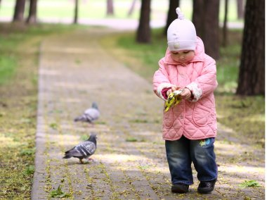 Walking baby in the park