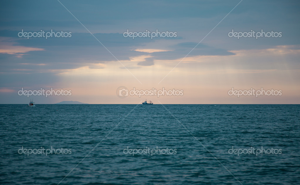 Ships in the open sea