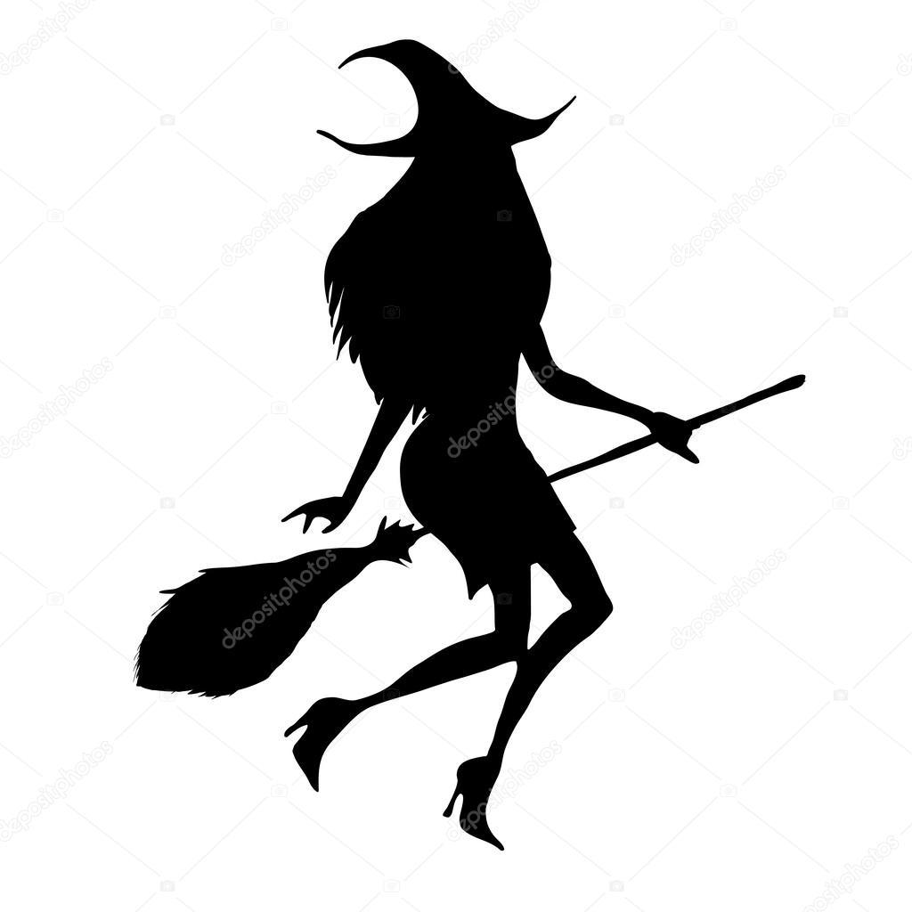 Halloween witch silhouette — Stock Vector © gabylya89 #31965809