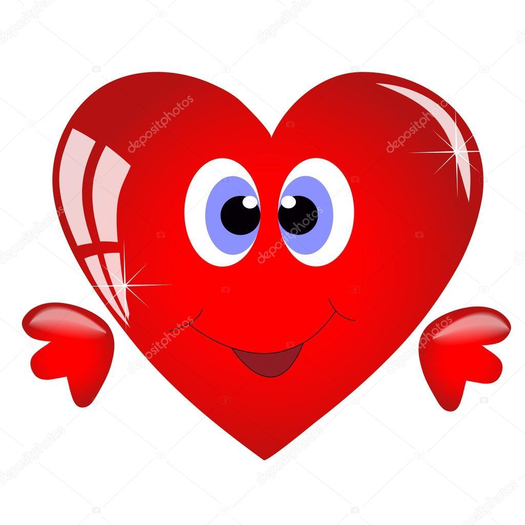 Sorridente cuore cartone animato — vettoriali stock
