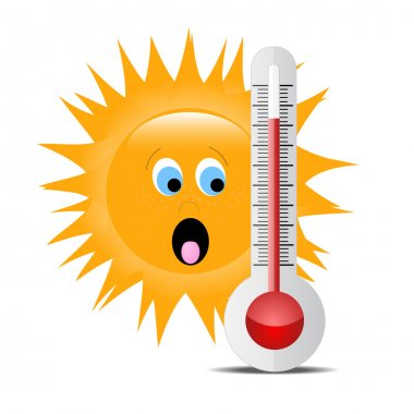 Thermometer with sun 2 clip art vector