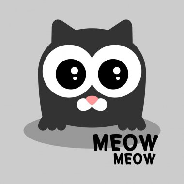 Cute grey kitten greeting card