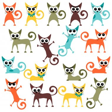 A set of cute bright cartoon cats