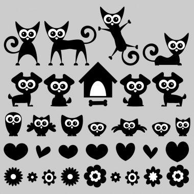 Cute funny animals cartoon set