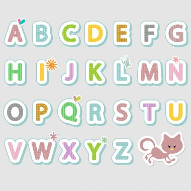 Alphabet set cute stickers