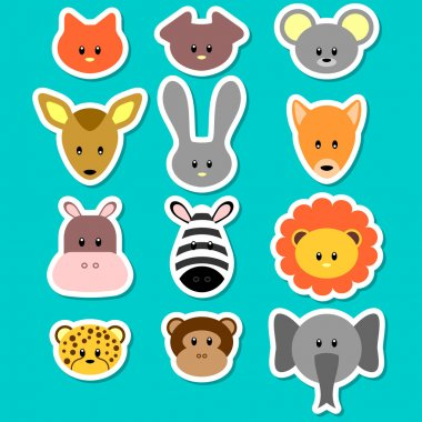A set of cute animal faces