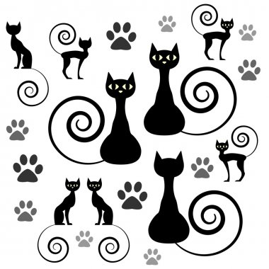 A set of black cat silhouettes