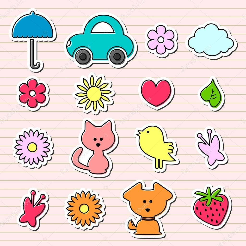 Cute childish stickers set stock vector littlepaw for Stickers infantiles