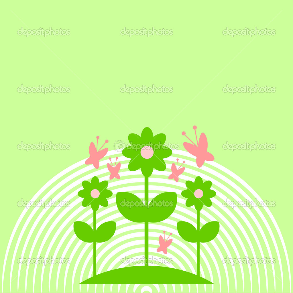 simple background with cute flowers and butterflies u2014 stock vector