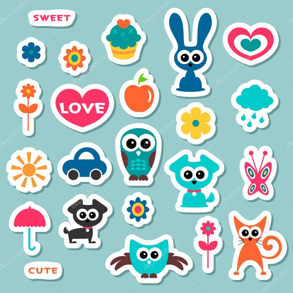 Cute childish stickers stock vector littlepaw 12052667 for Stickers decorativos