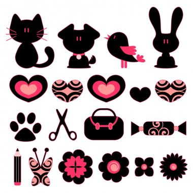 Design elements animals objects