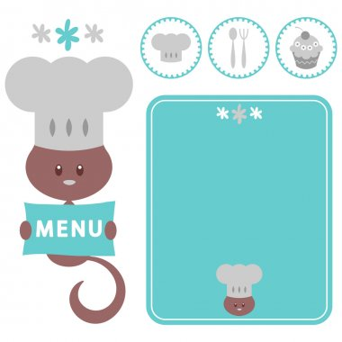 A set of elements for restaurant with kitty chef