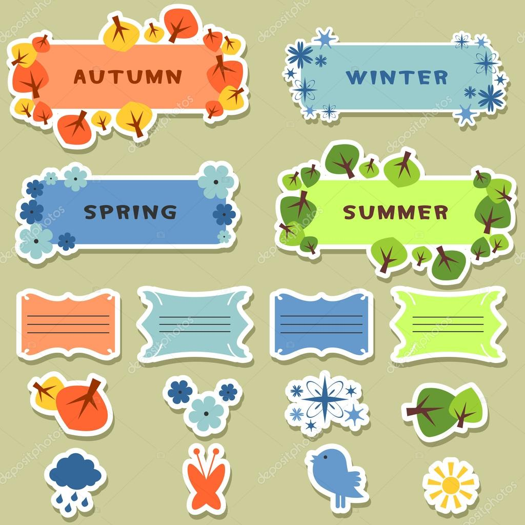 Cute scrapbook elements stickers four seasons