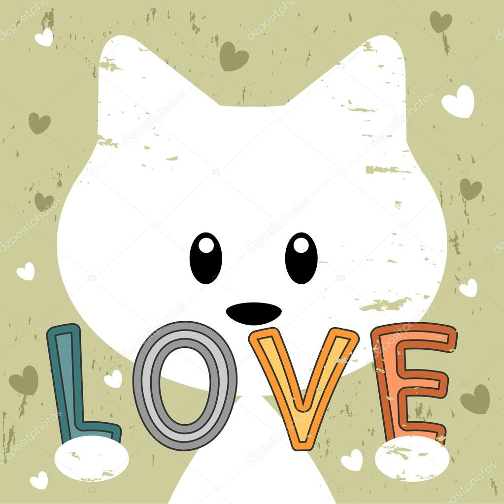 Cute Kitty Holding Love Message Retro Background Stock Vector