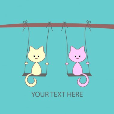 Cute vector card with two little kittens on swings