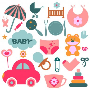 Set of design elements for babies
