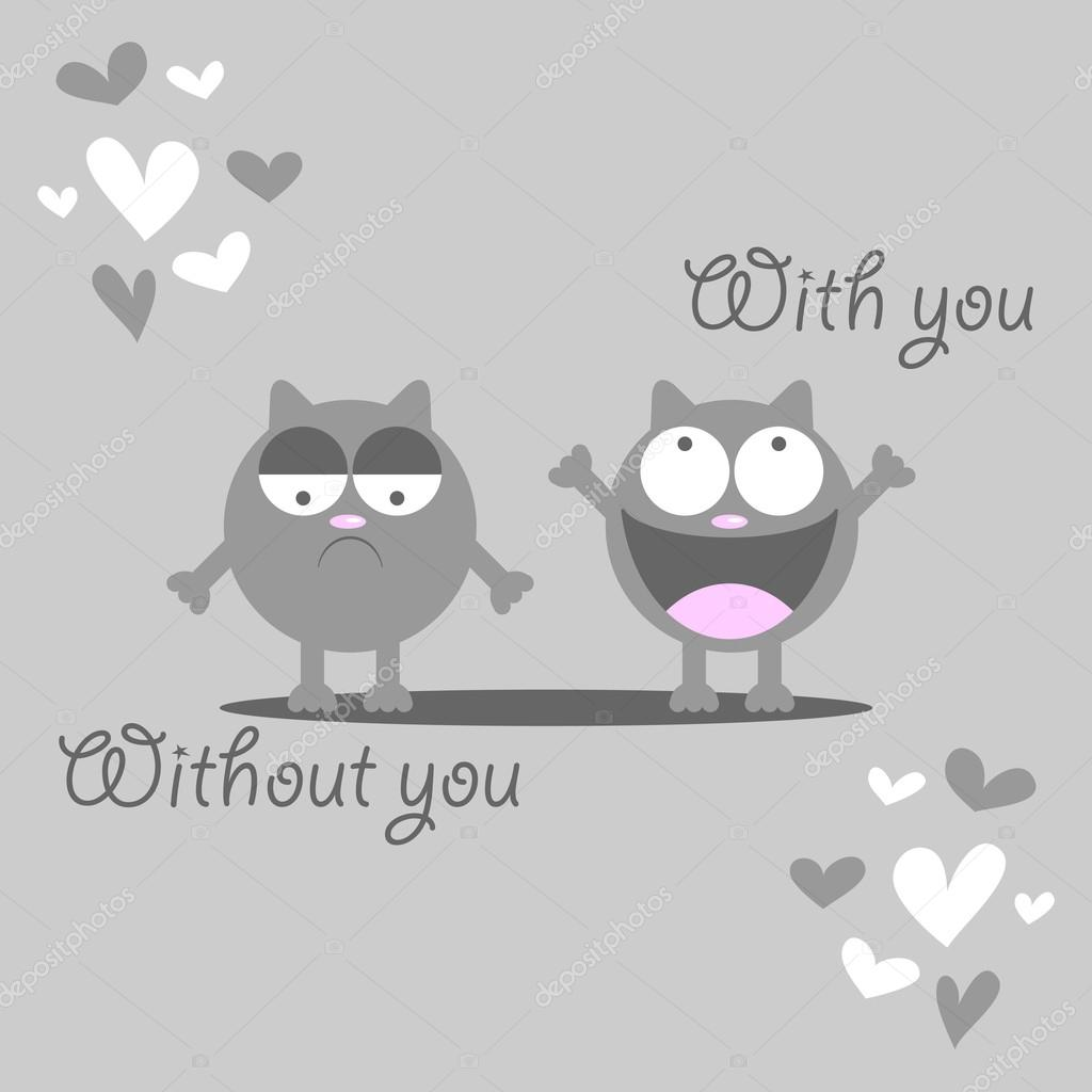 Cute Kitten Missing Someone Romantic Card Stock Vector Littlepaw