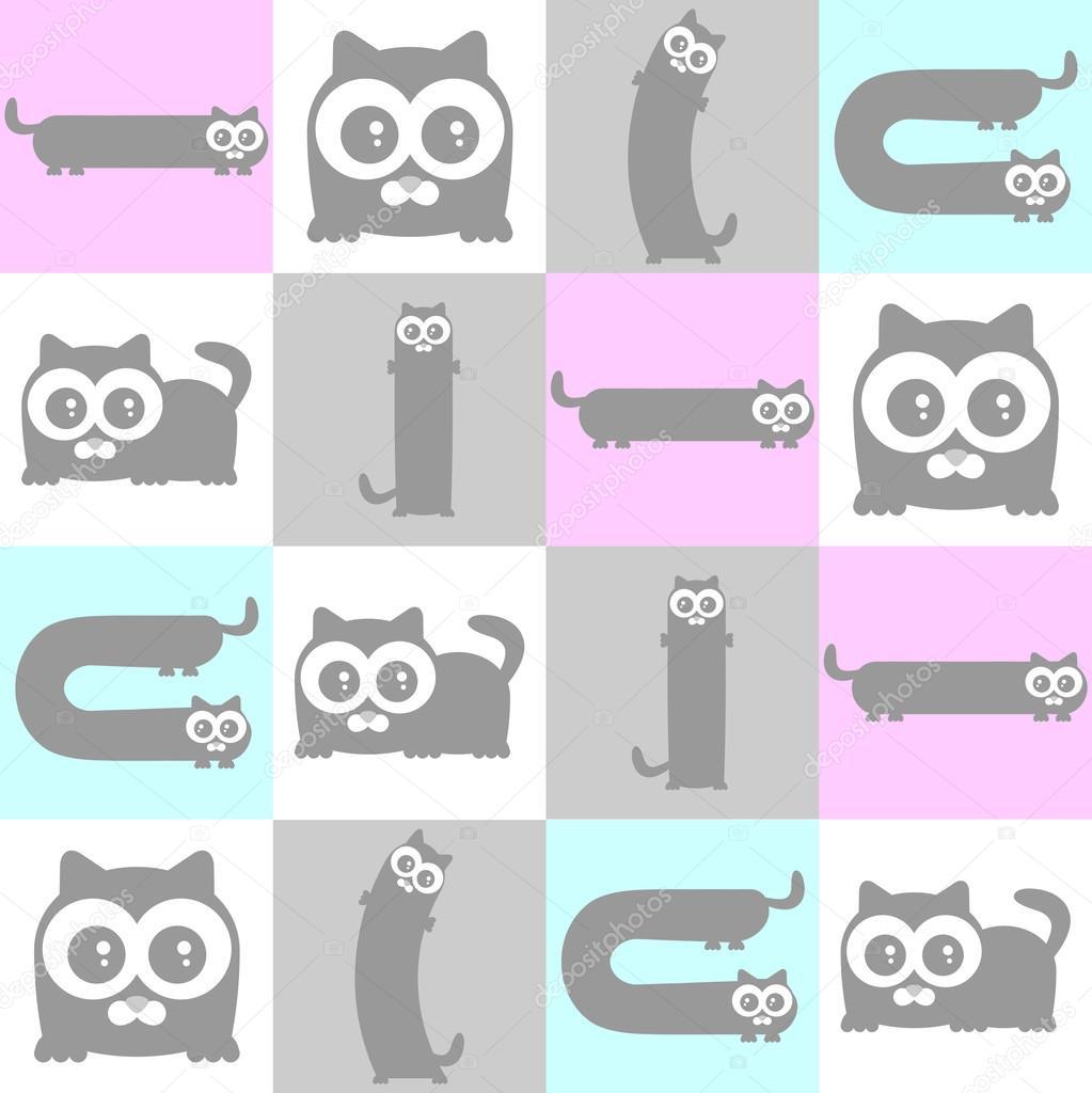 patrón sin costuras lindos gatitos — Archivo Imágenes Vectoriales ...