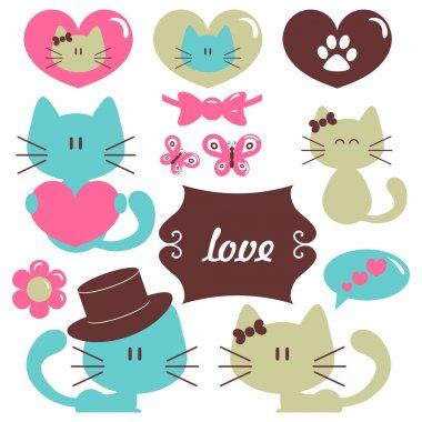 Cats in love romantic vector set of elements