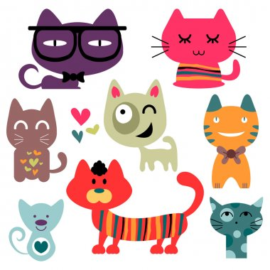 Various funny cats set