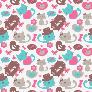 Cats in love romantic seamless pattern