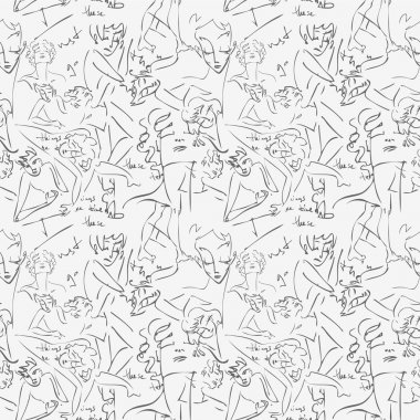 Various sketches of . Seamless pattern