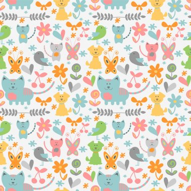 Cute childish seamless pattern with baby animals