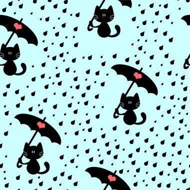 Seamless pattern with cute kitties under the rain