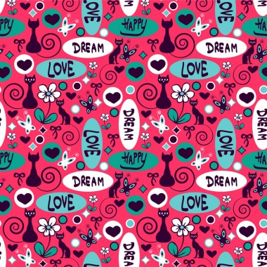 Cute seamless pattern with cats and flowers