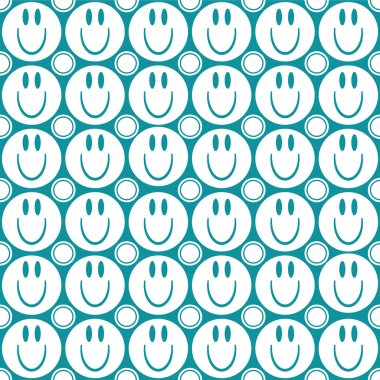 Seamless pattern with smiling faces