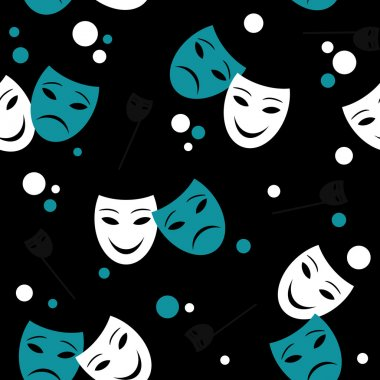 Seamless pattern with theatre masks