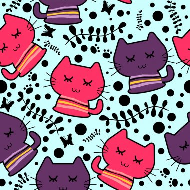 Seamless pattern with cute funny kittens
