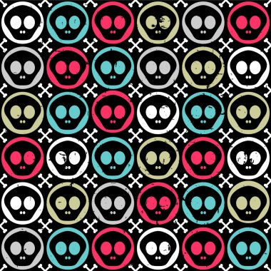 Seamless pattern with human skulls